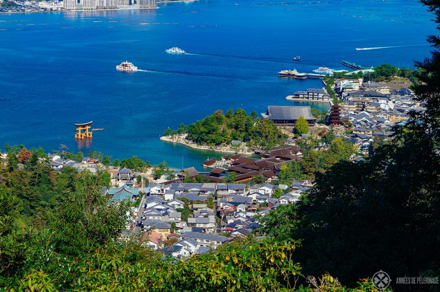 Ferries departing miyajima island for the train station at miyajima-guchi