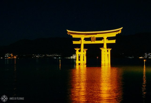 The o-torii of the Itsukushima shrine at night