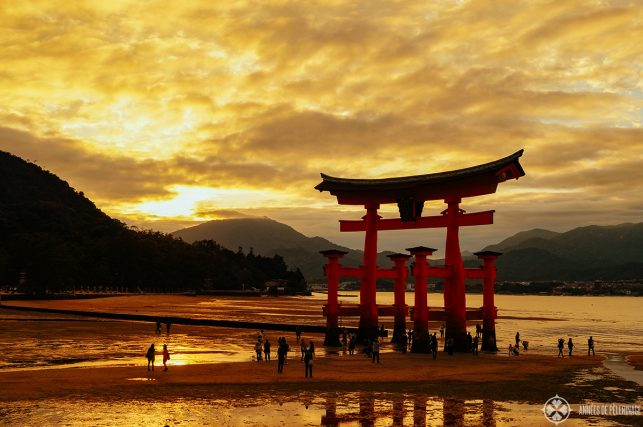 The otorii of the Itsukushima shrine on Miyajima at sunset