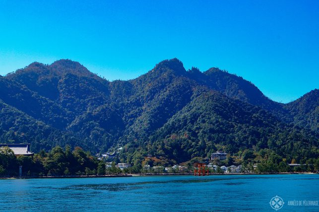 View of Mt. Misen from the ferry to Miyajima