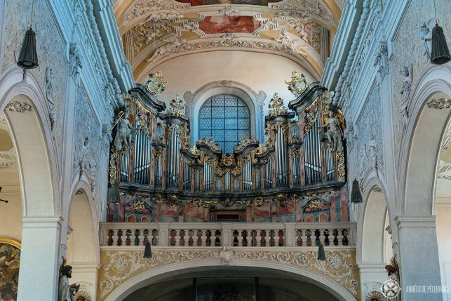 The ancient organ prospect inside the Obere Pfarre church in Bamberg
