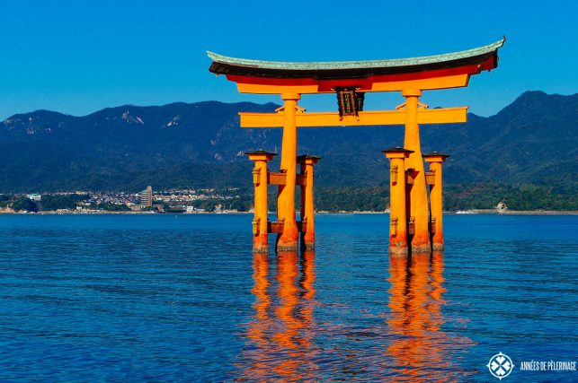 The o-torii of the Itsukushima shrine at high tide on Miyajima, Japan