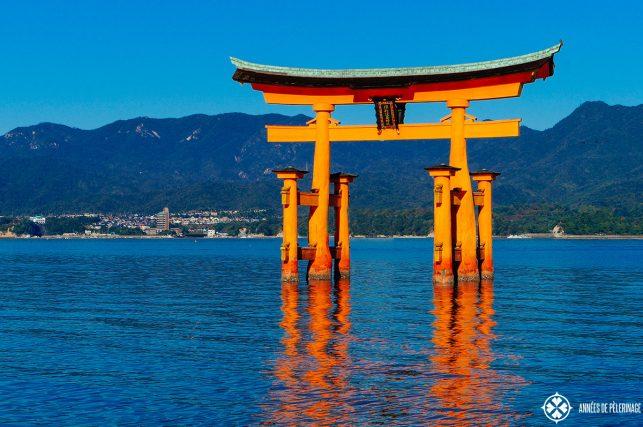 The o-torii of the Itsukushima shrine at high tide on Miyajima, Japan
