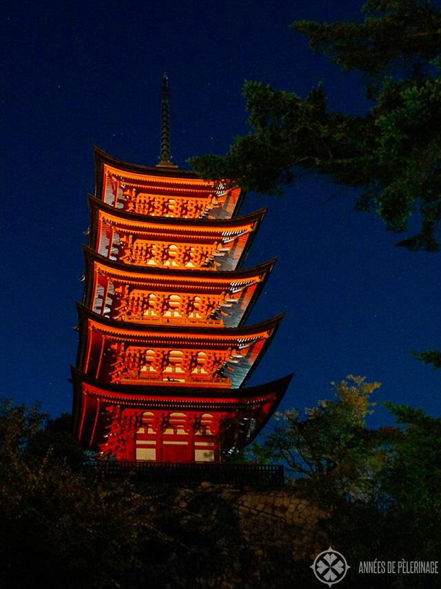 The  Gojunoto pagoda on Miyajima at night