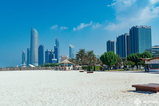 The public beach at the Corniche in Abu Dhabi