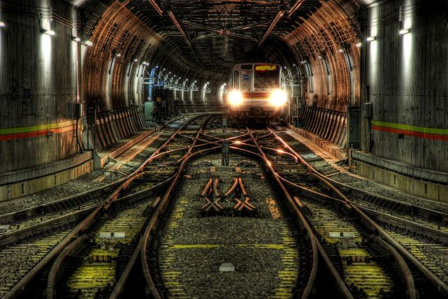 A subway tunnel in Tokyo - the busiest subway system in the world