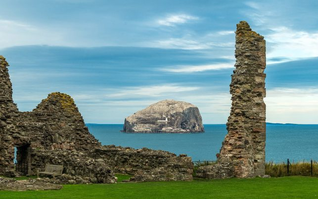 (A part of) Tantallon Castle with the Bass Rock in the background