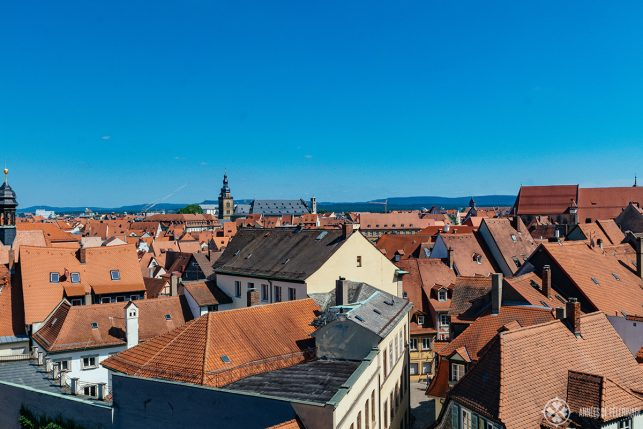 View across the roofs of the old town of Bamberg - a unique UNESCO World Heritage site