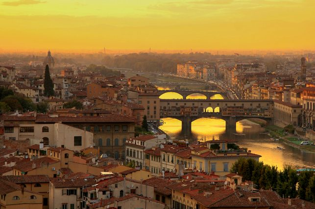 View of Ponte Vecchio from Piazzale Michelangelo in Florence