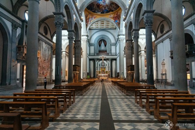 Inside Basilica di San Lorenzo - Burnelleschi created the design in the 15th century