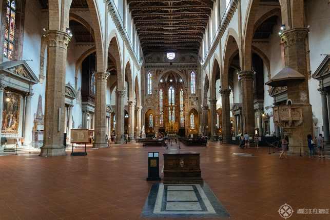 Inside the Basilica di Santa Croce where many