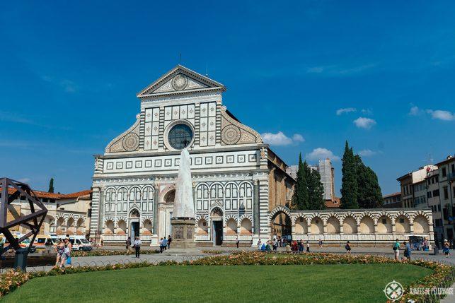 The facade of Basilica di Santa Maria Novella in Florence italy