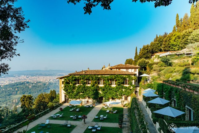 the gardens and terrace of the Belmon Villa San Michele luxury hotel in Florence