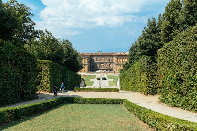 View of Pitti Palace from the Boboli Gardens - the main axis is lined with trees and hedges