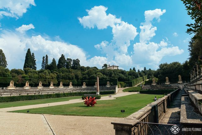 The amphitheater inside the Boboli Gardens as seen from the Pitti Palace