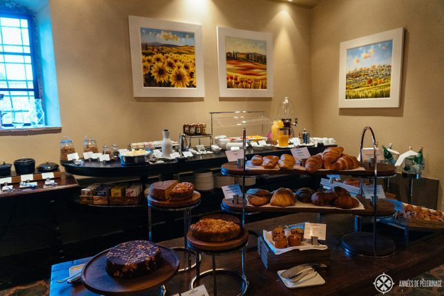 The rather small breakfast buffet at the Belmond Castello di Casole