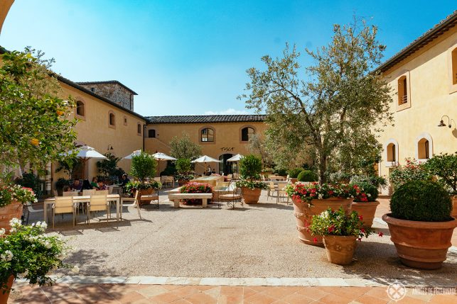 The inner courtyard where breakfast is served at the Belmond Castello di Casole