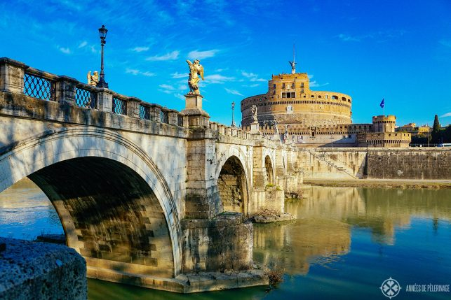 Castel Sant'Angelo on the banks of the river Tiber in Rome, Italy