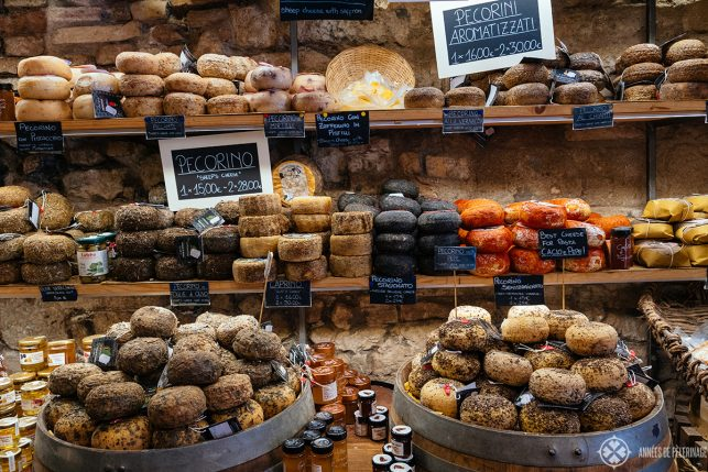 An artisan shop selling Pecorino cheese in Tuscany