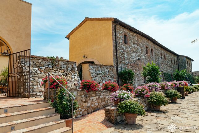 flowers in the historic main building of Belmond Castello di casole