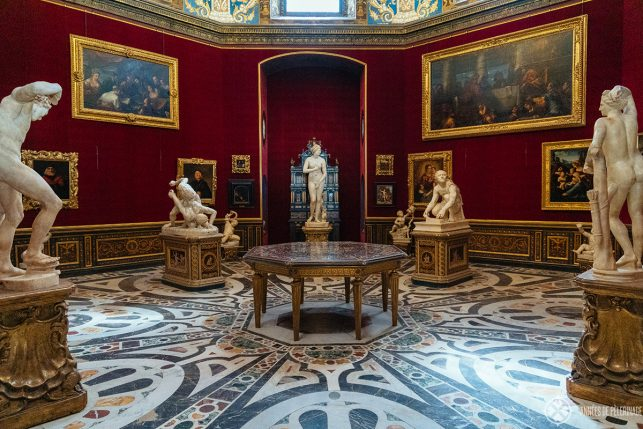 Inside the Uffizi Gallery - a historic room that has been restored to its former splendor