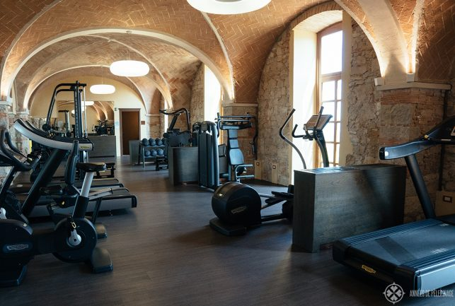 The big gym of the luxury hotel Castello di Casole