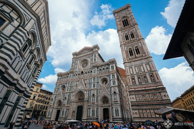 Front view of Florence Cathedral and the Campanile tower