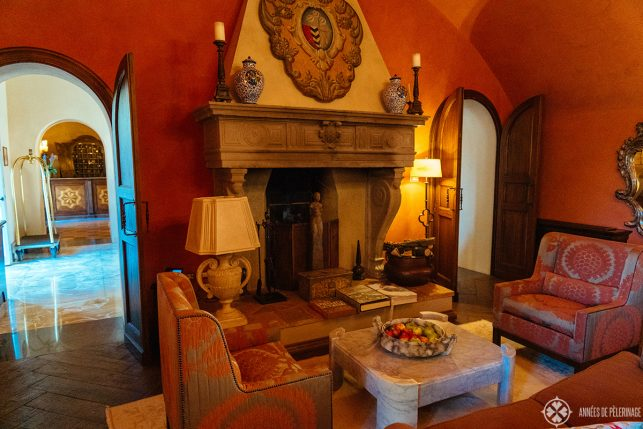 the lovely lobby of the Belmond Castello di Casole