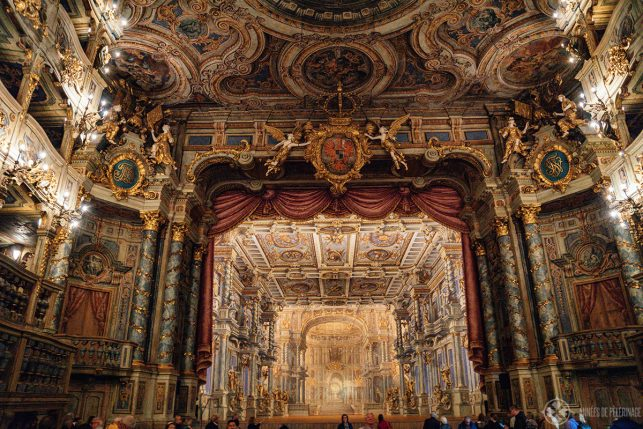 The historic stage of the Margravial Opera House in Bayreuth