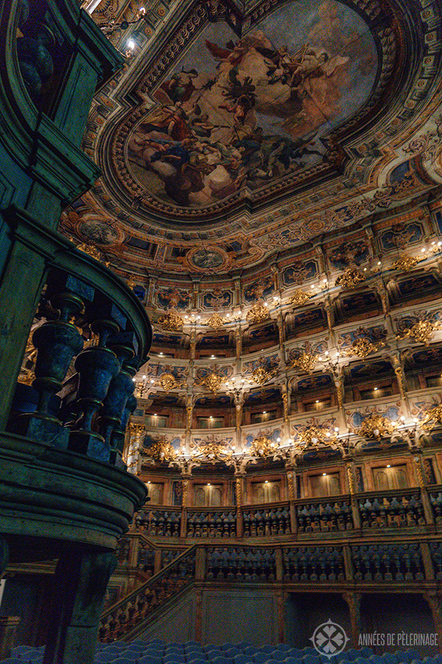 Another view of that amazing auditorium of the Margravial Opera House in Bayreuth, Germany