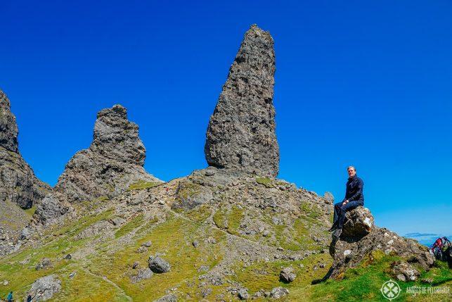 Me, sitting below the Old Man of Storr on the Isle of Skye