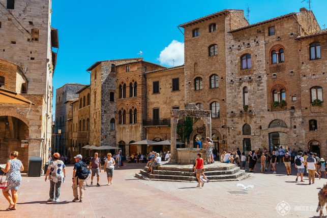 A typical medieval square in a town in Tuscany