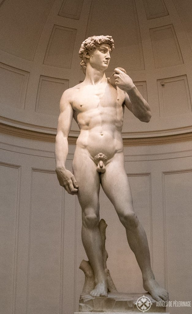 "The collosal marble statue ""David"" by Michelangelo in the Galleria dell'Accademia in Florence"
