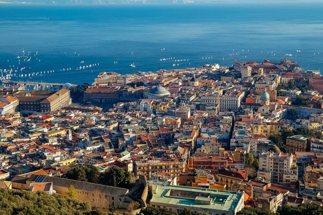 The old town of Naples, Italy, from above
