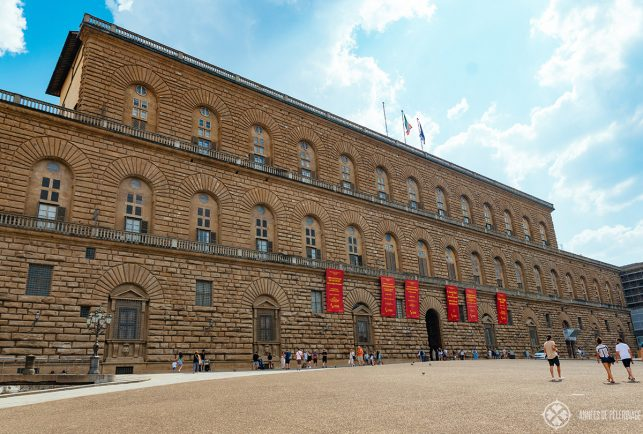 Front view of the Palazzo Pitti - one of the best museums in Florence, Italy