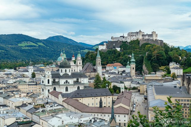 View of Fortress Hohensalzburg & the old town of Salzburg