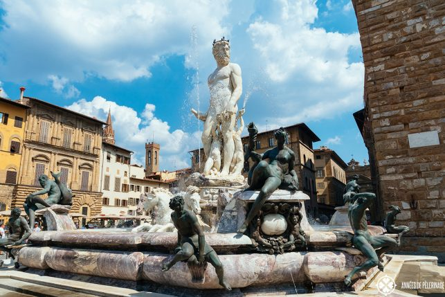 The fountain of Neptune on the Piazza della Signoria in Florence, Italy