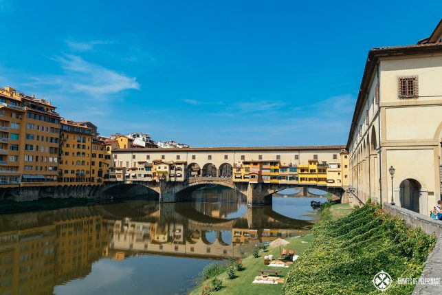 The Ponte Vecchio bridge across the River Arno - the most iconic tourist attractions in Florence