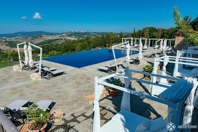 full view of the pool area (early in the morning) of Belmond Castello di Casole