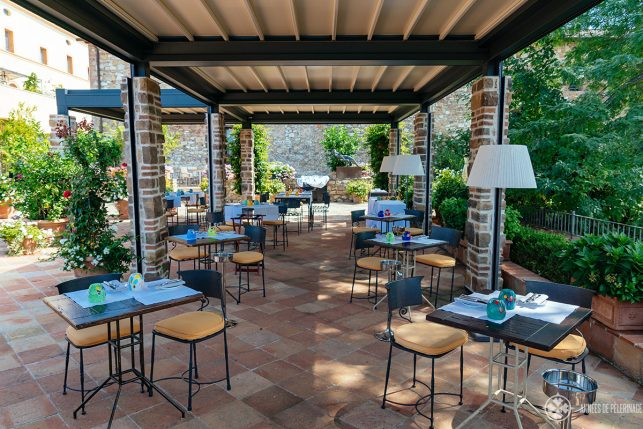 The terrace restaurant of the Belmond Castello Di Casole