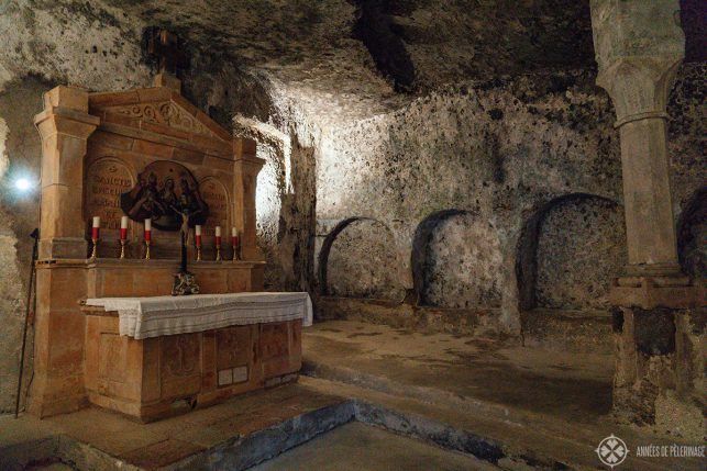One of the chapels inside the catacombs in Salzburg, Austria
