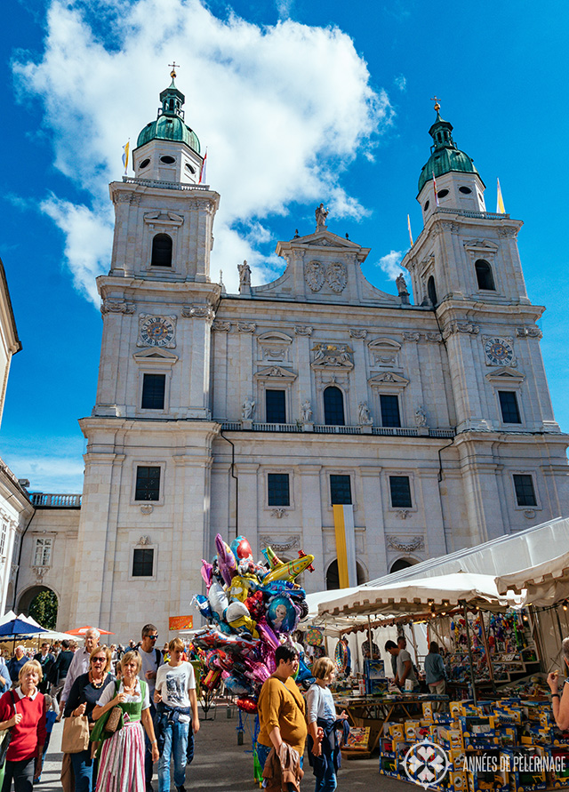Salzburg Cathedral (with a local festival in the foreground)
