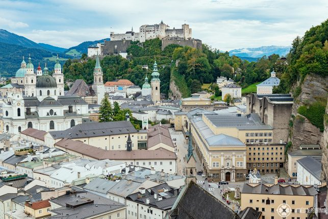 View of Salzburg from the viewing platform in front of the Museum der Moderne