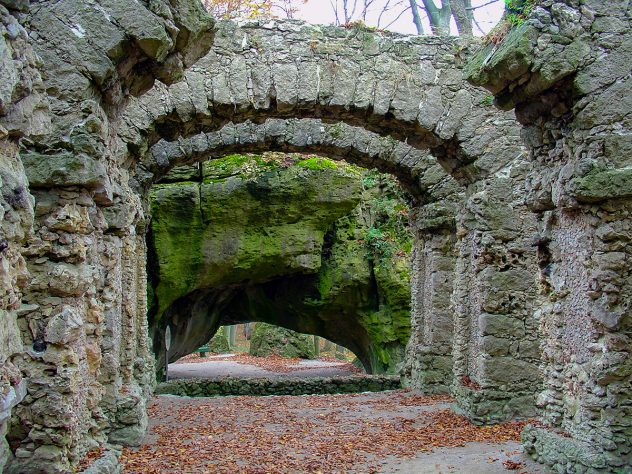 A ruin theater at Sanspareil landscape garden near Bayreuth, Germany