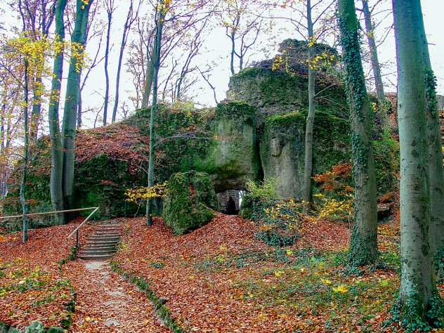 A peculiar rock formation at Sanspareil landscape garden near Bayreuth