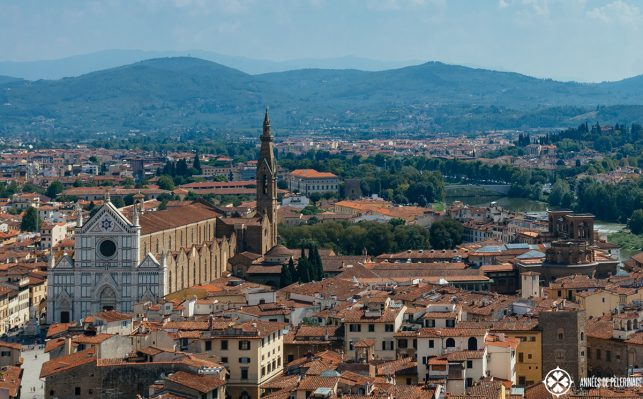 The Basilica di Santa Croce in Florence from above