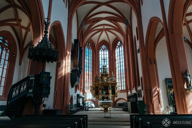 Inside the Stadtkirche with a view of the historic high altar