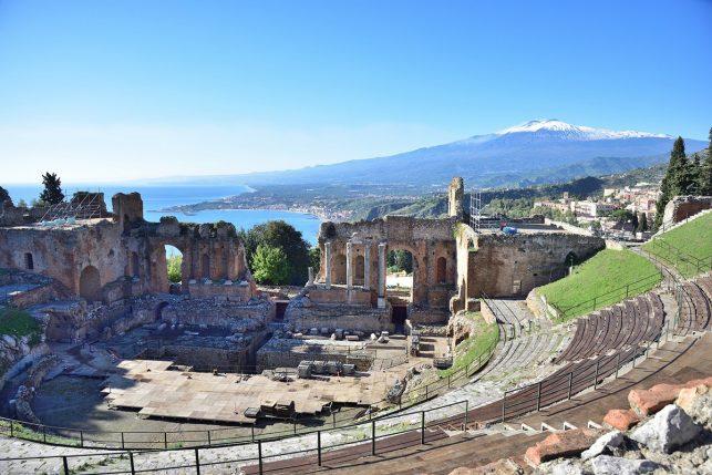 The greek amphitheater in Taormina, Italy