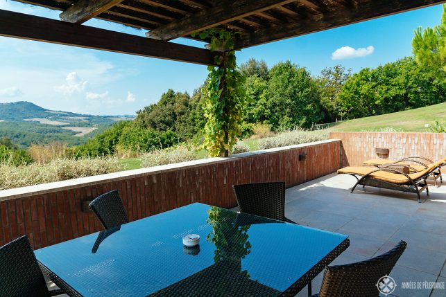 The big terrace of the Oliveto suite