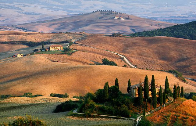 The rolling hills of the Valle D'Orcia in Tuscany, Italy.